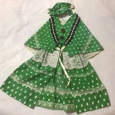 New listing Lawn Goose Ornament Outfit Green N White Polka Dots N Lace Skirt Cape N Hat
