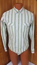 Mens BKE 67 WESTERN SHIRT Sz Small Long Sleeve Pearl Snap Green White