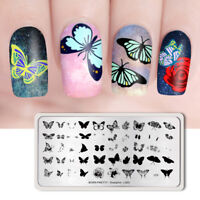 BORN PRETTY Rectangle Nail Stamping Plates Butterfly Template Overprint-L003