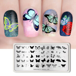 BORN PRETTY Nail Stamping Plates Rectangle Butterfly Pattern Overprint-L003