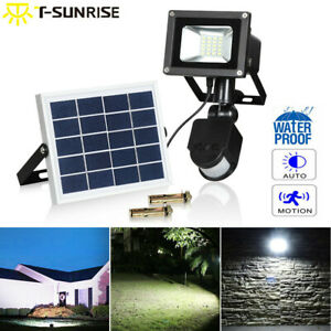 10W Solar Powered LED PIR Motion Sensor Security Flood Light Spot Wall Lights UK