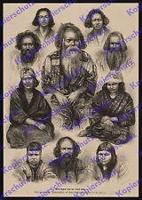 Adolf Neumann Völkerkunde Japan Ainu Tracht Asien Jesso Hokkaido Nippon 1880!!!!