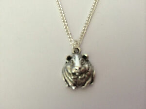 """Guinea Pig Hamster Tibetan Charm Girls Necklace 16"""" Silver Plated Chain gift"""