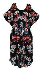 Plus Size Floral Short Sleeve Tunic Dresses for Women