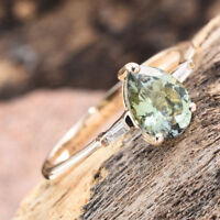 Rare 1.05Ct AA Green Tanzanite Pear & Baguette Diamond 9K Y Gold Ring Size Q/8