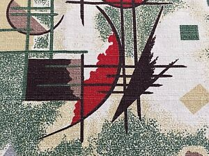 Atomic Mid Century Barkcloth Vintage Fabric Remants (2) Drape Curtain Fragmants