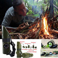 7 In 1 Camping Survival Tool Compass Thermometer Flashlight Magnifier Whistle