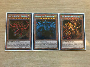 YuGiOh Complete Egyptian God Card Set - SBCB - (Secret Rare 1st Edition Mint)