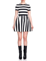 NWT, VALENTINO Black/White Striped Bambolina Virgin Wool and Silk Dress, SZ 10