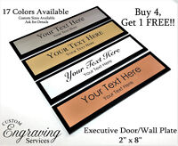 """OFFICE DOOR WALL NAME PLATE SIGN EXECUTIVE ENGRAVED ACRYLIC BACK 2"""" X 8"""" U.S.A."""