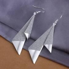Fashion 925Sterling Solid Silver Jewelry Geometry Dangle Earrings For Women E326