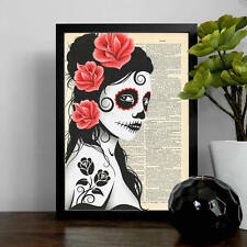 Mexican Decorated Sugar Skull Lady Mock Dictionary Page Art Print Poster.