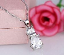 STERLING SILVER, PLATINUM PLATED CZ CRYSTAL CAT PENDANT NECKLACE