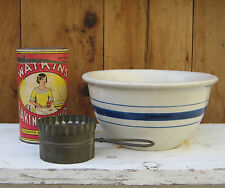 """Antique Prim Stoneware Mixing Bowl ONLY White Blue Banded Cobalt Stripes 7 3/4"""""""