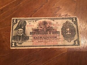 Republic of Haiti One Gourde Une Gourde Banknote 1922 Poor Condition As Is