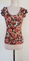 REVIEW Pink/Black Floral Stretch Knit Top Size 10