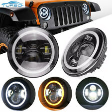 2x 7inch Round CREE LED Headlights Halo Angel Eyes For Jeep Wrangler JK TJ LJ CJ
