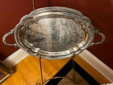 Stunning Silver plated Ornate Footed Serving Tray 25 X 15 Inches