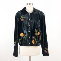 Double D Ranch Velvet Jacket Sz M Womens Black Floral Button Front Top Medium