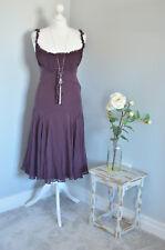 TED BAKER Wine red/purple 100% silk ruffle dress, sz 2 10