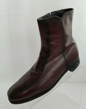 Florsheim Ankle Boots Bike Toe Zip Mens Brown Leather Pull On Shoes Size 7.5D