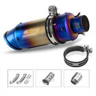38-51mm Silver Exhaust Tips Long Muffler Tail Pipe For Universal Motorcycle ATV
