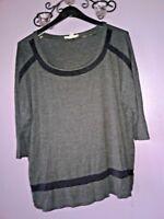 Woman Top-Plus 1X-Dark Gray/blk-Spense-Pullover-3/4 Sleeve-Used