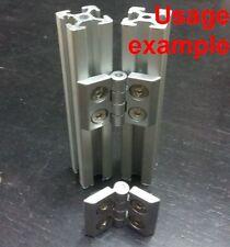 Aluminum T-slot 2020 profile hinge 20x20 + screws + T-nuts, 4-set