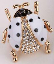 Ladybug Stretch Ring Crystal Rhinestone Animal Bling Jewelry White Clear RA26