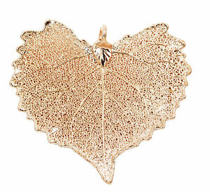 Zhannel Real Leaf PENDANT COTTONWOOD Rose Gold Dipped Genuine Leaf New