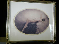 Louis Icart Colored Nude Women Reclining Print Art Deco Style Silver Frame