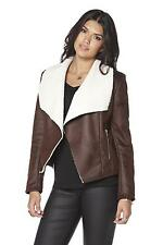 womens be you shearling waterfall jacket brown/cream size UK 12 zip pockets