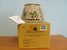 New In Box Home Interiors V-11076 Mosiac Stained Glass Cardinals Candle Shade