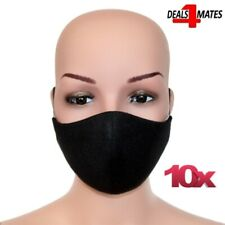 10 Pcs Lot Washable Black Face Anti Haze Safety Mouth Protector Breathable UK