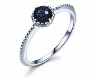 925 Sterling Silver Ring, (UK N-O) Stacking Ring, Blue Goldstone Thumb Ring