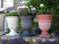 Large Plastic Round Garden Urn Plant Pot Planter Outdoor Garden Stand Round Tall