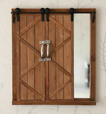 New Vintiquewise Decorative Mirror with Sliding Barn Style Wood Rustic Shutters