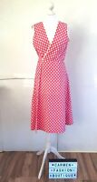VINTAGE 1970s 70s PINK POLKA DOT SPOTTED PINAFORE DRESS UK 8-10 EU 36-38 US 4-6!
