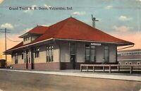 Postcard Grand Trunk Railroad Train Station Depot in Valparaiso, Indiana~123681