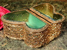 FAB Antique ORMOLU Jewelry Box Casket Matson Stylebuilt BUTTERFLY SHAPE Turquois