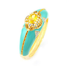 Gold Plated with Yellow Cubic Zirconia and Swarovski Crystal Bangle