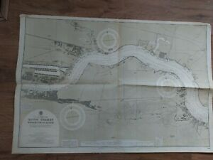 Vintage Admiralty Chart 3191 UK RIVER THAMES WOOLWICH to ERITH