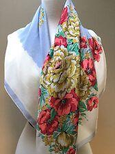 "BG Creations Floral Large Flower Print SILK 33"" Square Scarf-Vintage Cravenette"