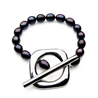 11mm Black Freshwater Cultured Pearl Bracelet Pacific Pearls® Gifts For Daughter