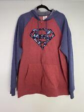Mens Superman Sweatshirt 2XL XXL Full Zip Long Sleeve Red Blue Pockets