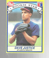 1991 Post Cereal Dave Justice 1 Of 30 Atlanta Rookie Stars Series Baseball Card