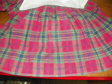 VINTAGE RALPH LAUREN TWIN BEDSKIRT- RED & GREEN MADRAS PLAID- 100% COTTON