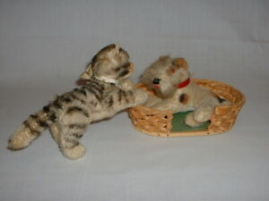 Vintage German Steiff Mohair Dog, Cat and Wicker Dog Bed
