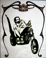 LARGE BACK BIKE ZIG ZAG MAN - Printed Patch - Sew On - Jacket, Backpack, T-shirt