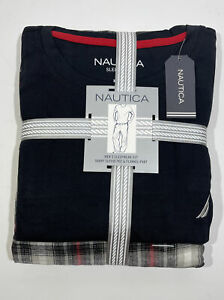 NAUTICA Men's Sleepwear Set Black Short Sleeve Tee & Plaid Flannel Pant XL